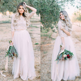 wedding dresses two slits 2018 - Cheap Two Piece Wedding Dresses Short Sleeves Illusion Appliqued Lace Neckline Tulle Vintage Boho Bridal Gowns Beach Boh
