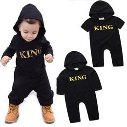 Wholesale black romper jumpsuit resale online – Baby KING letter romper INS boys letter printing Jumpsuits new fashion kids Boutique Hooded Climbing clothes C3534