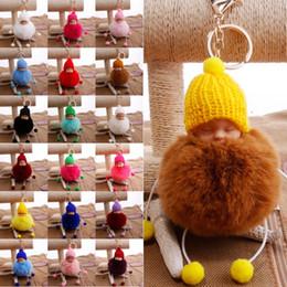 BaBy Boy keychains online shopping - 22 Styles Plush Doll Keychain Fur Ball Pendant Lady Bag Car Keyring Key Holder Sleeping Baby Pendant Keychain Free DHL G247Q