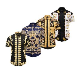 Chinese  2018 Spring Festival Medusa Business men's short-sleeved shirt ,baroque 3D flower printing luxury brand clothing with Men's Dress Shirts manufacturers