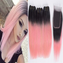 $enCountryForm.capitalKeyWord Australia - 8A Brazilian Straight Ombre Pink Hair Bundles with Lace Closure 1B Rose Gold Pink Ombre Straight Human Hair Extensions with Closure