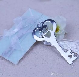 Em forma de chave Marcador Coração Oco Com Branco Design Borla Bookmark Requintado Do Casamento Do Bebê Do Chuveiro Do Partido Favores Presentes venda por atacado