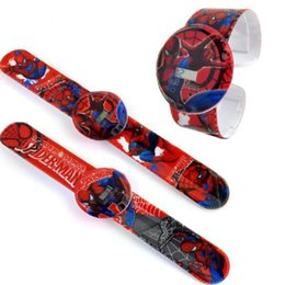 Wholesale kids cartoon spiderman watches slap snap wristwatch boys girls wrist watch for children toys Christmas Gift hot