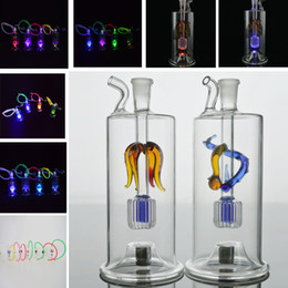 """Lighted Bong NZ - Recycler Oil Rigs Water Pipes 5"""" Multicolor Led Light Beaker Bongs Inline Perc Glass Hookah Pipes 10mm Joint Dragon Shining Shisha Dabs"""