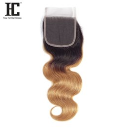 $enCountryForm.capitalKeyWord NZ - HC 1B 27 Ombre Body Wave Hair Lace Closure 4*4 Inch With Baby Hair Brazilian Body Wave Human Hair Top Clousre Free Shipping