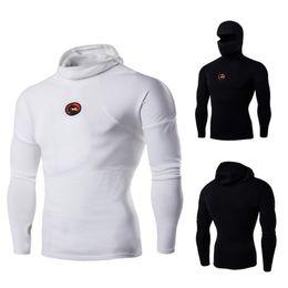 Nouveau Hommes Stretch Coton Sweat À Capuche Personnalité de Fitness Masqué Ninja Noir Blanc T-shirt de Sport Casual Homme À Manches Longues À Col Haut M-3XL Vente en Solde