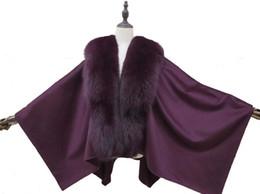 Wholesale cashmere capes fox fur resale online - Women Winter Genuine Fox Fur Collar and Real Cashmere Cape Cloak Fashion Warm Romantic Soft Purple