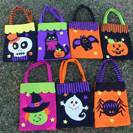 eco bags design 2019 - Halloween Gift Wrap Bags Non-Woven Cotton Candy Bag Ghost Pumpkin Spider Skull Handle Tote Bag Party Xmas Decoration 7 D