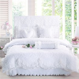 girls modern bedding 2019 - 100%Cotton Thick Quilted lace Bedding set King queen Twin size Bed set Princess Korean Girls White Pink Bed skirt set Pi