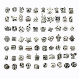 Venta al por mayor de 70 estilos tibet Silver Big Hole Beads para el encanto europeo pulseras pandora pulseras metales sueltos perlas joyería DIY