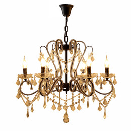 China iron crystal pendant lights K9 crystal chandelier lighting fixtures E14 black chandeliers home decor 5 8 10 heads for living room bedroom suppliers