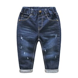 trend jeans Canada - Boys & Girls Ripped Jeans Spring Summer Fall Style 2018 Trend Denim Trousers For Kids Children Distrressed Hole Pants Size 2-6T