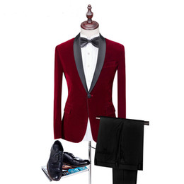 $enCountryForm.capitalKeyWord UK - Hot sale Red Velvet Man Suits For Man clothes 2 Psc Peaked Lapel wedding suit Classic style Black pantsTuxedos For Party Suits