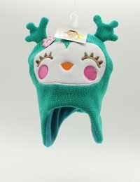 baby girl knitted winter bonnets 2019 - New knit Cute unicorn hat winter hats newborn animal deer baby fashion caps girls bonnet top hat baby photography props