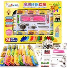 polymer tools Australia - 24 Colors 720g Polymer Oven Bake Colored Clay Set With Tools Fimo Modeling Clay Educational Toys Children Baking Fimo Polymer Cl