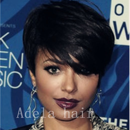 Discount curling for short hair - 00% Human Hair Short Wigs Glueless Pixie Cut Bob Wigs for Women can be washed and curled African Haircut Style