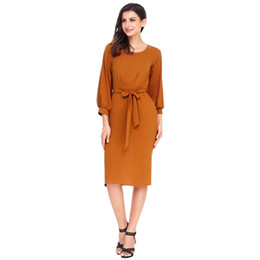 07428ba9389 S-L new autumn spring o neck long sleeve sashes pure color dress back split  pencil dress bradn women work office formal midi dress