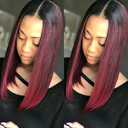 remy bob wigs 2018 - Ombre Straight Short Bob Wigs Lace Front Human Hair Wigs For Black Women T1B 99j Pre Plucked Brazilian Remy Hair With Ba