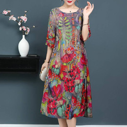 Wholesale Autumn Winter Dresses Women Floral Printed Dress Elegant O Neck Sleeve Boho Midi Vestido Long Shirt Vestidos Robe Femme XL