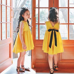 Barato Vestido Bonito Coreano Amarelo-Everweekend Summer Sweet Kids Girls Cor Amarela Backless Bow Cute Dress Princess Lovely Coreano Fashion Dress
