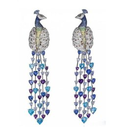 $enCountryForm.capitalKeyWord UK - Derongems_Luxury Micropaved Colorful Gemstone Peacock Tessel Earrings_S925 Sterling Silver Colorful Party Earrings_Facotry Directly Sales