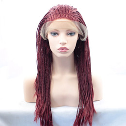 styles for braided hair 2018 - Sexy New Style Burgundy Braids Wigs High Quality Braiding hair Heat Resistant Braided Glueless Synthetic Lace Front Wigs