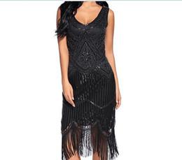 f7339a37648 Pas cher 1920S Paillettes Perlées Ourlet Hem Gatsby Robe Habillée Sexy  Danse Latine Costume V Cou Robe Embellie Plus La Taille Rouge