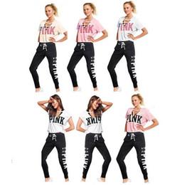 Discount yoga pants brands - Summer Women PINK Letter Tracksuit 2pcs Yoga suits V Neck US Flag Design Short Sleeve T Shirt+Bandage Pants Leggings Cas