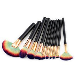 Hair Fans UK - Factory Direct DHL Free! High Quality 10pcs Fan Makeup Brush Wood Handle Makeup Brushes Kits Eyebrow Eyeliner Foundation Make up Brush Toool