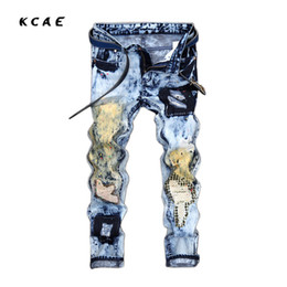 9288ec69ccde5 Viejos agujeros jeans online-Estilo europeo y americano. Pantalones vaqueros  para hombres. Agujero