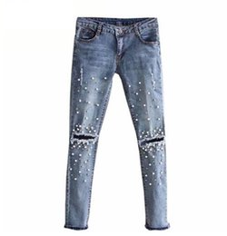 $enCountryForm.capitalKeyWord Australia - Knee Hole Ripped Jeans Women Stretch Denim Pencil Pants Casual Slim Fit Rivet Pearl Jeans Summer Long Trousers Low Waist Cowboy