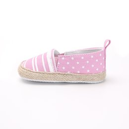 Baby Girl Summer Canvas Shoes Australia - Shoes Newborn First Walkers Baby Shoes Striped Slip-On Girl Babies Summer Spring Soft Sole Booties Canvas Newborn Girls 0-18 M