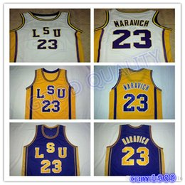 e8ff2094582 wholesale High Quality  23 Pete Maravich LSU Tigers College Basketball  Jerseys White Purple Yellow Stitched Customized Any Name And Number