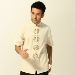 Chinese design suits online shopping - New design Chinese Men s tang suit Tops Mandarin Collar Vintage style Chinese traditional clothing ethnic costume for summer