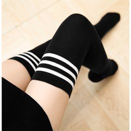 Woman Cotton Sex NZ - Erotic college wind cotton thick black and white striped stockings three bars over the knee white high stockings sexy adult sex toys