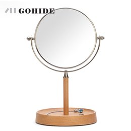 $enCountryForm.capitalKeyWord NZ - JUH A Wood Stand Desktop Cosmetic Mirror Table Mirror Double Side 6-inch Makeup Mirrors Round Shape Rotating High Magnification