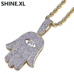 Gold hamsa necklaces online shopping - Hip Hop Evil Eye Hand Hamsa Pendant Necklace Womens Gold Color Plated Iced Out Micro Paved CZ Chain