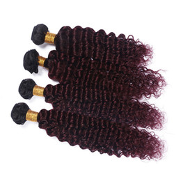 China Virgin Peruvian Wine Red Ombre Human Hair Weaves Deep Wave 4Pcs Lot #1B 99J Burgundy Ombre Human Hair Bundles Deep Wave Weft Extensions supplier hair human extension color red suppliers