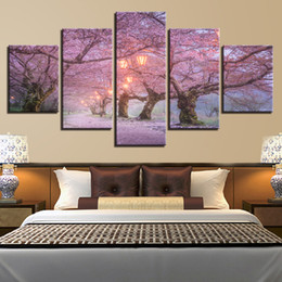 $enCountryForm.capitalKeyWord UK - Canvas Wall Art Pictures Home Decor 5 Pieces Beautiful Cherry Blossom Road Paintings HD Prints Morning Lanterns Poster Framework