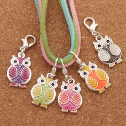 Alloy online shopping - 6Colors Enamel Owl Bird Clasp European Lobster Trigger Clip On Charm Beads Antique silver Findings C1599