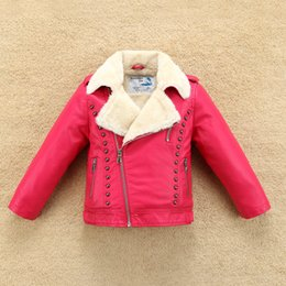 Water Proof Coatings NZ - New Thermal Fleece Thick Boys Girls Leather Jacket with Fur Collar for Autumn Winter Kids Warm Coat Bomber Soft Water-proof