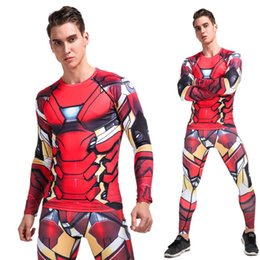 ironing clothes NZ - YANQIN Bodybuilding Suit Summer Iron Man 3D Printing Trainning Exercise Set Gym Compression Quick Dry Fitness Sports Clothes