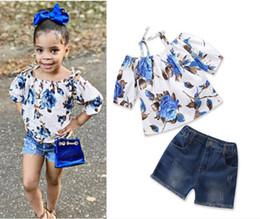 Tutu Sizes For Kids Australia - kids girl summer Clothing Sets 2018 girls Floral Strap Tops+Hole Denim shorts 2pcs set children clothing outfit set size for 1-6yrs