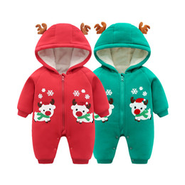 8f9c6bbe645f Kids Clothing New Autumn Winter Thick Warm Baby Onesies Newborn Baby Unisex  Infant Clothes Jumpsuit Elk Christmas Cotton Hooded Wholesale