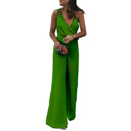 255be68d1408 Sexy Off Shoulder Party Straps Jumpsuit Women Wide Leg Long Pants Solid Rompers  V-Neck Elegant Jumpsuits For Women 2018 WS8766M