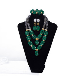 $enCountryForm.capitalKeyWord NZ - Dark Green Women Party Costume Crystal Big Ball Beaded Necklace African Beads Jewelry Set Luxury Nigerian Wedding Beads Bridal Jewelry Set
