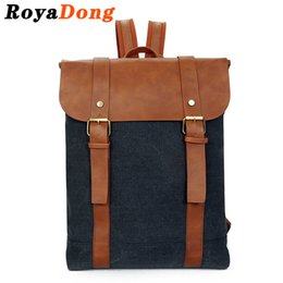 cd3777f48309 RoyaDong 2017 Laptop Backpack Women Canvas Leather Belts And Flap Vintage  Backpack For Teenagers