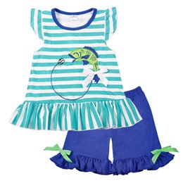 $enCountryForm.capitalKeyWord NZ - Wholesale Baby Girl Clothes Summer Blue Sleeveless Top Fish Embroidery Decor Pattern Fashion Ruffle Shorts Matching Boy T-shirt Y1892807