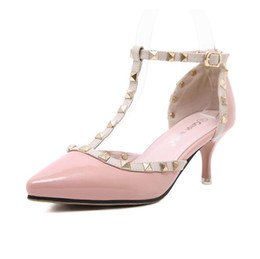 open toe nude color shoes 2019 - Women high heels dress shoes party fashion rivets girls sexy pointed toe studs shoes shoes 6cm thin heels nude color siz