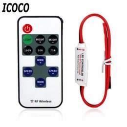 remote controlled led strip lights NZ - ICOCO 12V RF LED Strip Light Mini Wireless Switch Controller Dimmer with Remote Control Mini In-line LED Light Controller Dimmer